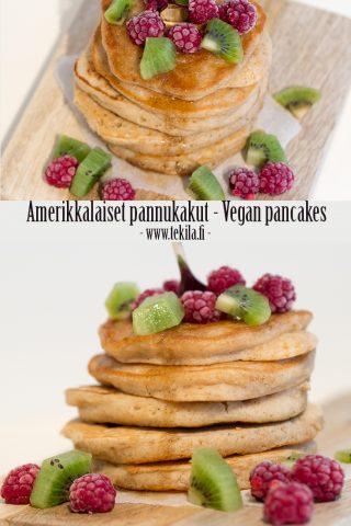 Amerikkalaiset pannukakut - Vegan pancakes #eggfree #milkfree Resepti blogissa - Recipe on blog
